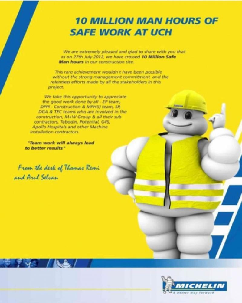10 Million Man-hours of safe work at Michelin!!!