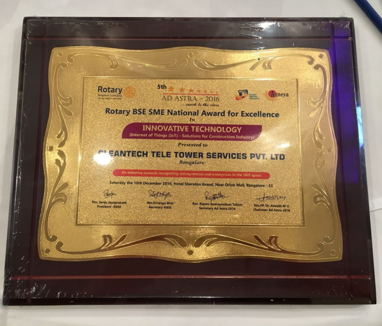 Proud to share that we have been declared winner in Rotary SME Innovation in Construction Awards 2016 for Cleantech Tele Tower Services Pvt.Ltd., co-founded by Mr. Madhukar B.A., for their work on Internet of Things (IoT) Solution.